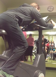 Don demonstrating cycling posture of the future; straight back, free diaphragm